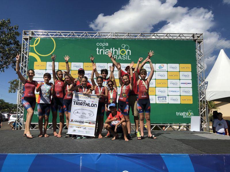 Escolinha de Triathlon  ADTRISC com várias conquistas no Brasileiro Infantil em Palmas, Tocantins