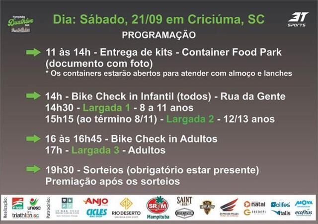 Programação Duathlon Cup  de Criciüma em 21 de setembro